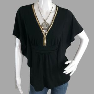WHBM Solid Black PLUNGING BEADED Blouse Size XS